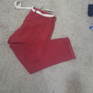 Petite dark red linen blend cropped pant with belt